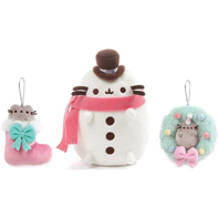 "GUND 6"" Pusheen Snowman Plush 3 Piece Bundle with Wreath Ornament and Stocking Ornament"